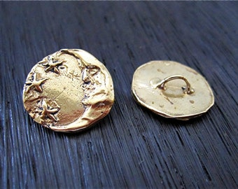 Moon and Stars Artisan Button in Gold Bronze (one) (N)