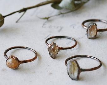 Raw topaz ring · simple orange stone ring · dainty crystal stacking ring · raw crystal ring · electroformed ring · topaz ring