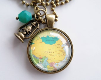 Map of China - Map Pendant Necklace - Custom Jewelry - Travel Necklace - Adoption Jewelry - Adoptive Parents Gift - Missions - Travel Gift