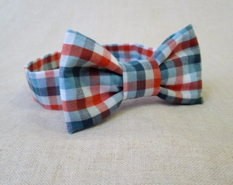 Blue and Red Plaid Bow Tie - Boys Bow Tie - Ready to Ship Boys Plaid Bow Tie - Newborn Photo Prop to Toddler Boy Photography Prop - Baby Tie