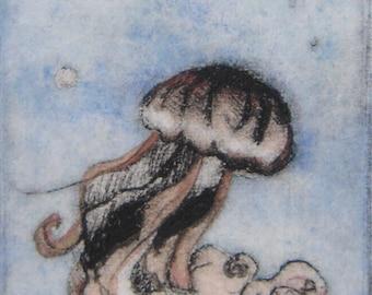 Lunatique sticker Original petite pointe sèche main tiré imprimer avec gelée de danse aquarelle