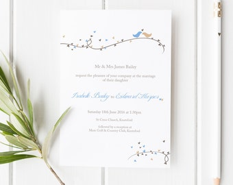 Dorethy // Love Birds and Hearts Wedding Invitation // Duckegg Blue and Beige // DIY Printable File // Digital PDF File