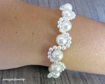 Wedding jewelry, Whit pearl bracelet, Bridal Bracelet, Sterling silver jewelry, by Sara Gal.