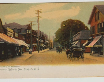 Vintage Postcard, Newport, Rhode Island, Bellevue Avenue, Horse and Buggy, ca 1910