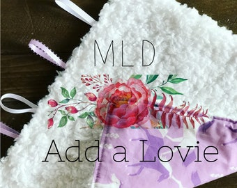 Add a Lovey Blanket, Tag blanket, Security Blanket // Makers Choice Fabric // ++Add to Order++
