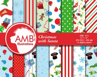 Christmas Digital Paper, Christmas papers and Patterns, Santa scrapbook papers, commercial use, AMB-512