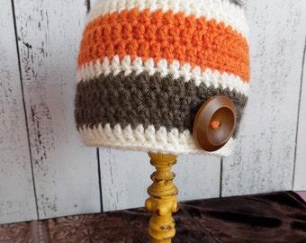 Brown, Orange and Cream Striped Hat w/ Brown Button