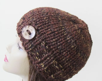 Chunky Knit Hat Beanie Knit Winter Hat - in Sequoia with Button Accent Women Teens Wool Blend Yarn - Ready to Ship - Gift for Her