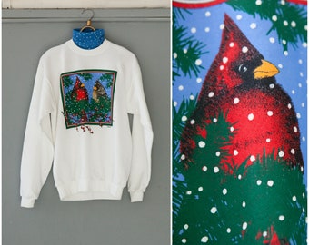 90s Turtleneck Top Novelty Sweatshirt Birds Graphic Roll Neck Jumper White Ugly Sweater Womens Medium Sweatshirt Mens Small Turtleneck M L