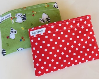 Reusable Snack Bag Set of Two Eco Friendly Green Raccoons Red Polka Dot