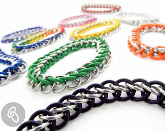 Stretchy Chainmaille Bracelet - Thick Half Persian Pattern - Pick Your Color
