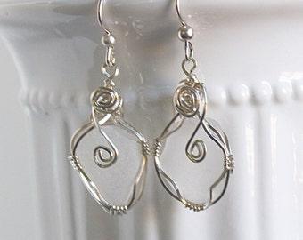 Sea glass earrings - sea glass jewelry - beach wedding earrings - ocean glass earrings - beach wedding jewelry - Seaglass earrings