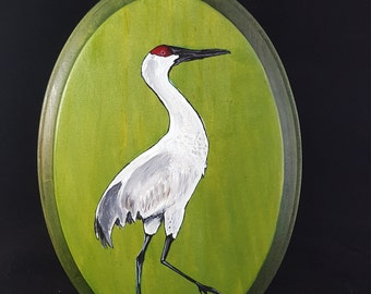 Whooping Crane acrylic on wood