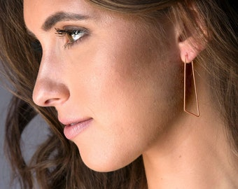 Bridesmaid Gifts Under 50, Minimal Statement Hoop Earrings in Rose Gold Geometric Hoops Sterling Silver Hoops Gold Filled Hoops Gift for Her