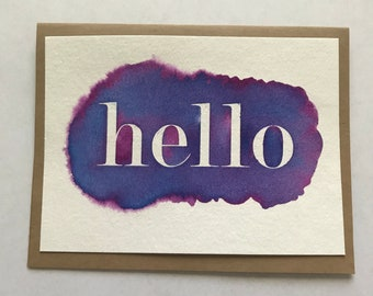 Watercolor hand painted HELLO card