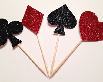 Casino Night Cupcake Toppers | Game Night | Casino Theme | Las Vegas Decor | Poker Party