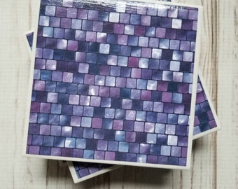 Purple Coasters, Ceramic Coasters, Mosaic Coasters, Women's Gift, Tile Coasters, Gift For Her, Dorm Decor, Mother's Day Gift, Birthday Gift