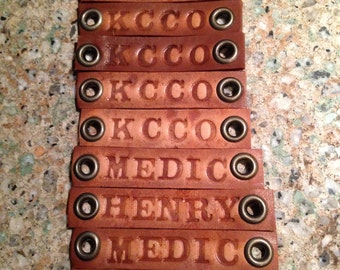 Custom Personalized Hand Stamped Leather Tag, Special Order for Megan
