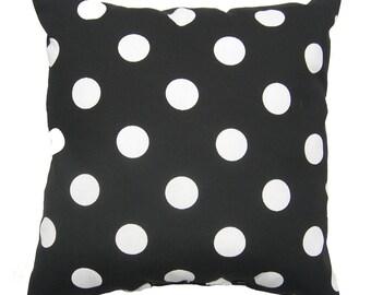 Black Polka Dot Outdoor Throw Pillow, Polka Dot Black and White Deck Pillow, Black Outdoor Cushion, Patio Pillows - Free Ship