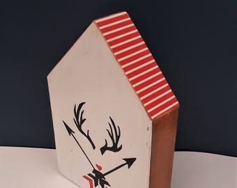 READY TO SHIP Handmade cedar decor antler & arrows design, housewarming gift,antlers design,red home decor, cedar wood gift, painted antlers