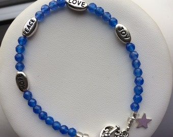 Bracelet — Blue Agate with Inspirational Word Beads and Sterling Star Charm