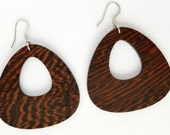 Weightlesswood, teardrop earrings, wenge wood, stylish, trendy earrings, lightweight, jewelry