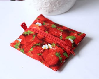 Red wallet with Strawberry fabric with white polka dot tab