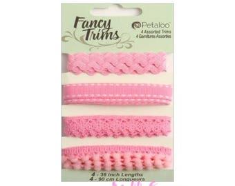 Assorted pink decorative ribbons Petaloo scrapbooking also