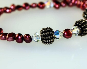 Red Pearl Necklace, Silver Beads and Closure, Swarovski Crystals