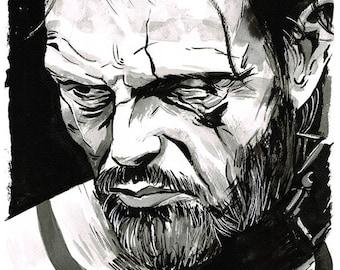 VALHALLA RISING - One Eye (Mads Mikkelsen) portrait original ink drawing Viking
