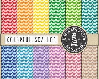 Scallops Digital Paper Pack   Scrapbook Paper   Printable Backgrounds   12 JPG, 300dpi Files   BUY5FOR8