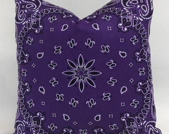 Pillow Cover - Bandana Pillow - Purple Pillow - Purple Bandana Pillow - Western Pillow - Girls Pillow -Fully Lined Pillow- Invisible Zipper