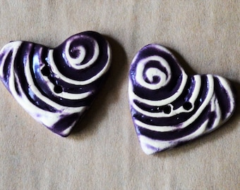 2 Sweet Ceramic Heart Buttons Rich Purple - Perfect for Valentines Day Gifts - Handmade Spiral Buttons made of Stoneware