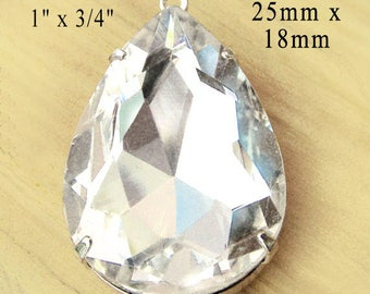 Faceted crystal rhinestone pendant is a pear or teardrop that measures 25mm x 18mm - a sparkling bridal pendant jewel