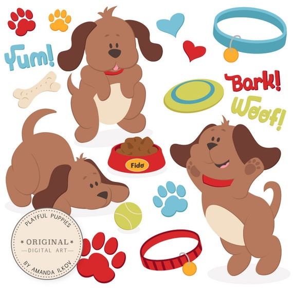 Professional Large Puppy Dog Clipart Amp Vector Set Dog
