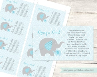 bring a book insert printable baby boy shower DIY elephants blue grey cute baby digital shower games - INSTANT DOWNLOAD