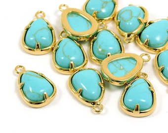 CLEARANCE! Teardrop Pendant, Gemstone Pendant, Turquoise Color Charm, Tarnish Resist Gold Frame, 1.5mm Hole, RETAIL - 2 PCS/ order