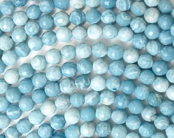 """6mm faceted blue larimar quartz round beads 15.5"""" strand 38128"""