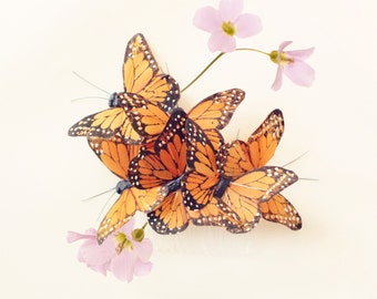 Butterfly hair comb, whimsical butterfly accessory, Orange monarch, butterfly head piece, woodland wedding hair - COCOON