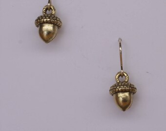 Gold cast acorn earrings on 14k gold filled ear wires