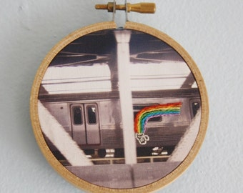 Hand Embroidered Wall Art, NYC Subway Graffiti,