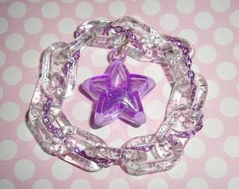 Purple Galactic Star Clear Glitter Link Chain Bracelet