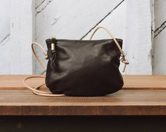 Leather Zip Crossbody Purse: The Luna Crossbody in Black leather by Awl Snap