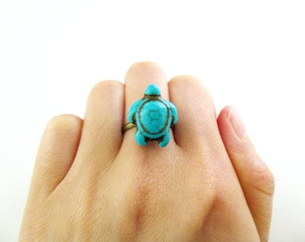 Turtle Ring Animal Jewelry Aquatic Tortoise Ocean Sea Blue Turquoise Howlite Gemstone Gem Stone Minimalist Accessories Womens Gift For Her