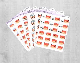 Fox Emoji Planner Stickers 023