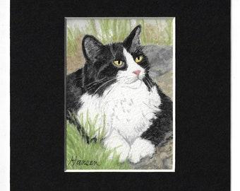 "ACEO Original Black & White Tuxedo Cat Miniature Watercolor Painting - Includes Mat - ""Sylvester"" by Cheryl Hansen"