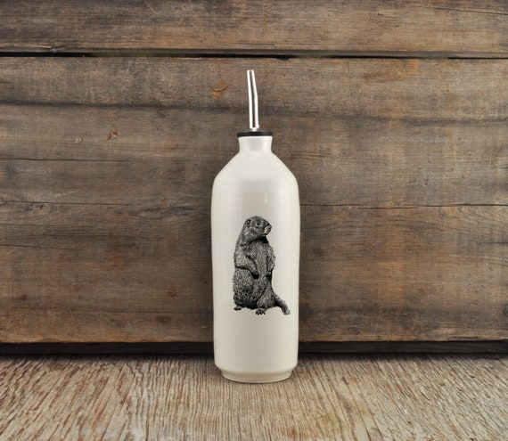 Handmade white glossy porcelain cruet with woodchuck drawing by Cindy Labrecque, Canadian Wildlife collection