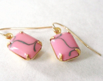 1980s pink earrings. Vintage glass pink and grey gray rectangle earrings on 14K gold fill (GF). Valentines Day Gift.