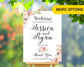 Engagement Wooden Welcome Sign Party Floral Gold Decorations Rustic Ideas Digital