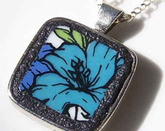 Turquoise Floral Broken China Jewelry Pendant on Sterling Silver Chain